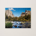 "Yosemite National Park, California Jigsaw Puzzle<br><div class=""desc"">USA,  California,  Yosemite National Park,  The Merced River,  El Capitan,  and Cathedral Rocks in Yosemite Valley 