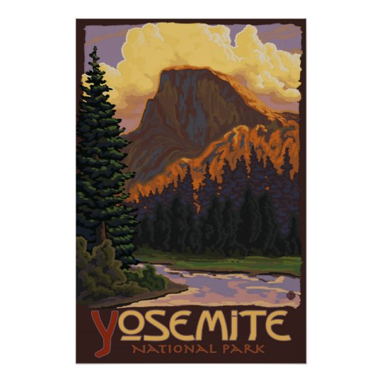 Yosemite National Park Poster Yosemite Valley: Yosemite National Park - Half Dome Travel Poster