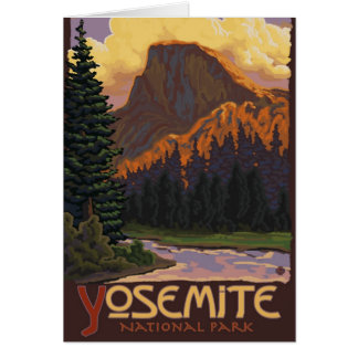 Yosemite National Park - Half Dome Travel Poster Card
