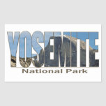 Yosemite National Park Text with Half Dome Rectangular Sticker