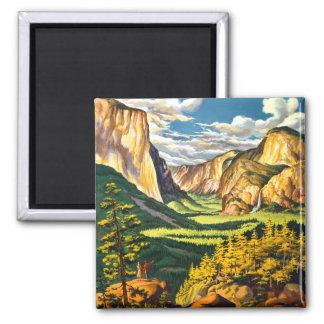 Yosemite National Park Travel Art 2 Inch Square Magnet