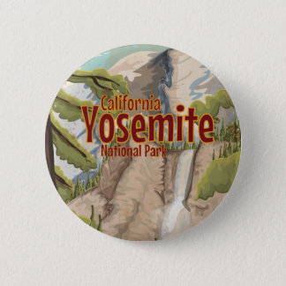 Yosemite National Park Travel Poster Button