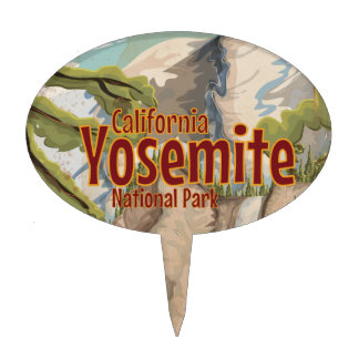 Yosemite National Park Travel Poster Cake Topper