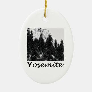 Yosemite No. 1 Black and White Ceramic Ornament