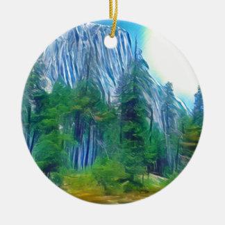 Yosemite No. 3 Mountain and Sun Ceramic Ornament