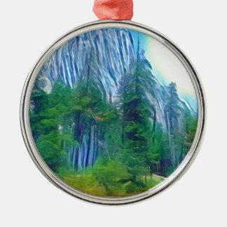 Yosemite No. 3 Mountain and Sun Metal Ornament
