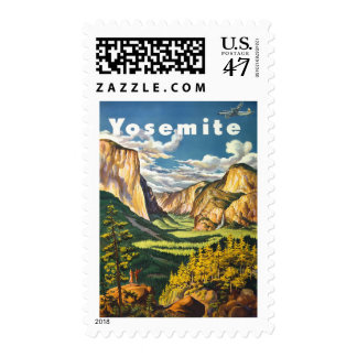 Yosemite Park Vintage Travel postage stamps