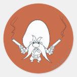 Yosemite Sam Smoking Guns Round Sticker