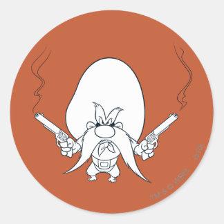 Yosemite Sam Smoking Guns Classic Round Sticker