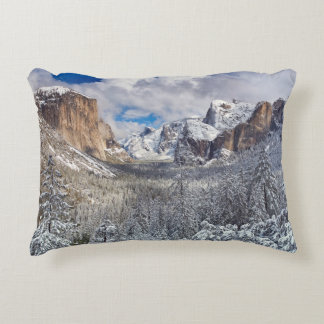 Yosemite Valley in Snow Accent Pillow