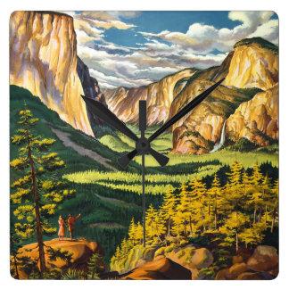 Yosemite Vintage Travel Art Square Wall Clock