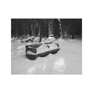 Yosemtie Falls snow covered bench Canvas Print