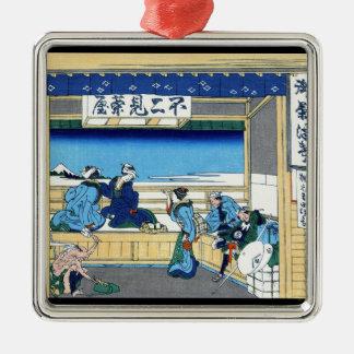 Yoshida at Tokaido Katsushika Hokusai Fuji Metal Ornament