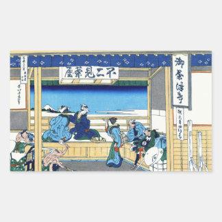 Yoshida at Tokaido Katsushika Hokusai Fuji Rectangular Sticker