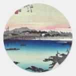 Yoshida por Ando, Hiroshige Ukiyoe Etiqueta Redonda