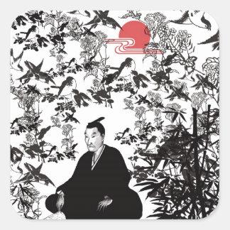 Yoshida Shoin and bird Square Sticker