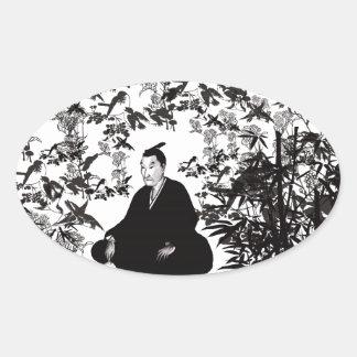 Yoshida Shoin and bird Oval Sticker