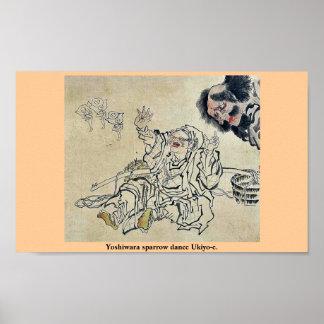 Yoshiwara sparrow dance Ukiyo-e. Posters