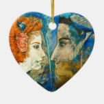 'You alone are real to me...'  Rilke - Double-Sided Heart Ceramic Christmas Ornament