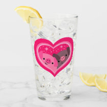 You And Me (Cute Cartoon Pigs) Glass