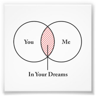 You and Me In Your Dreams Venn Diagram Photographic Print