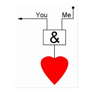 You And Me Love Nerd Edition Digital Logic Postcards