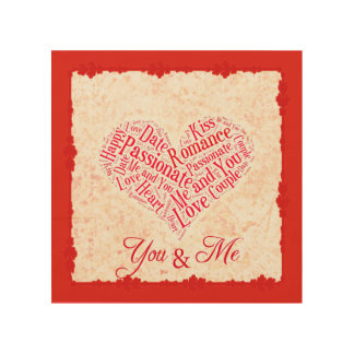 You and Me Romantic Wordcloud Heart Typography Wood Wall Art
