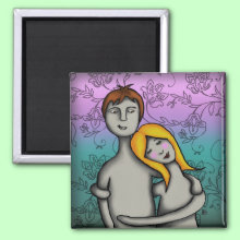 You and me - Square Magnet - A loving young couple embrace sweetly.