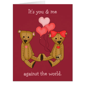 You and Me Teddy Bears Valentine Card