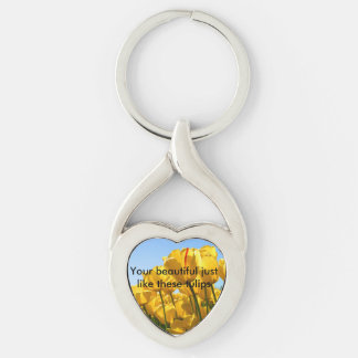you and tulips Silver-Colored Heart-Shaped metal keychain