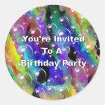You' re invitada a una fiesta de cumpleaños pegatinas