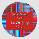 You're Invited To A 4th Of July Picnic Round Sticker