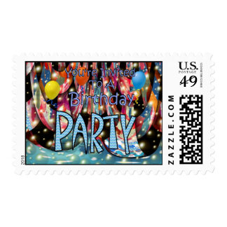 You're Invited To A Birthday Party Stamp
