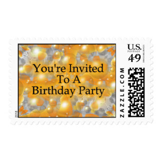 You're Invited To A Birthday Party Postage Stamps