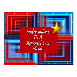 You're Invited To A Memorial Day Picnic Postcard
