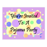 You're Invited To A Pajama Party Post Card