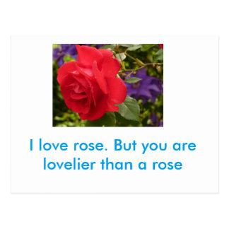You ar lovelier than a rose postcard