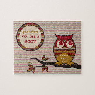 You are a HOOT Cute Owl Tribal Pattern Moon Branch Puzzle