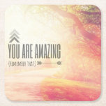 "You Are Amazing Square Paper Coaster<br><div class=""desc"">Inspirational Typographic Quote - You are Amazing  
