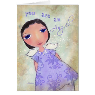 you are an angel, thank you greeting card