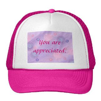 You are appreciated, pink purple bubbles hats