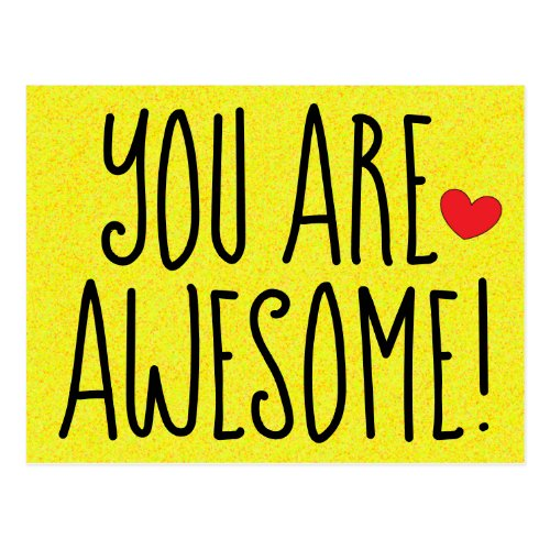 YOU ARE AWESOME Fun Quote Print Yellow Postcard