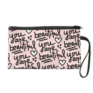 You Are Beautiful Peach Wristlet
