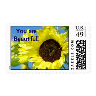 You are Beautiful! postage stamps Sunflowers