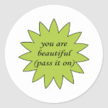 You Are Beautiful Sweet Sayings Design Stickers