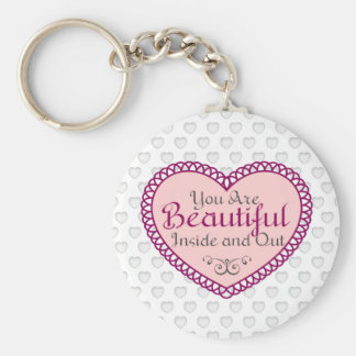 You Are Beautiful Word Art Gift Quotes Basic Round Button Keychain