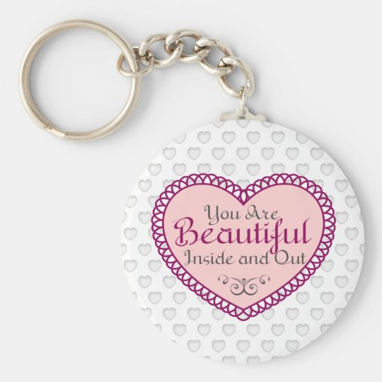 You Are Beautiful Word Art Gift Quotes Keychain Zazzlecom