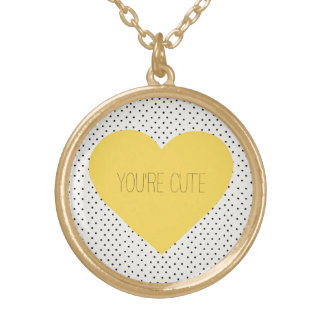 You are cute Heart Gold Plated Necklace