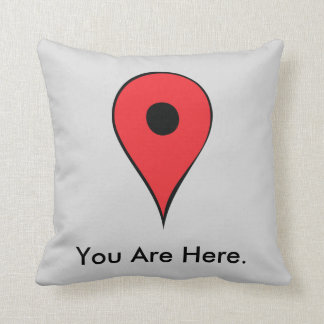 You Are Here Map Pin Throw Pillow