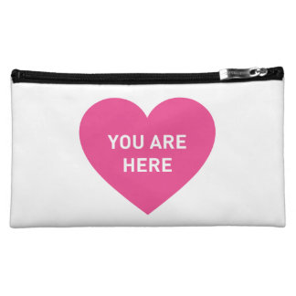 You are here pink heart makeup bag
